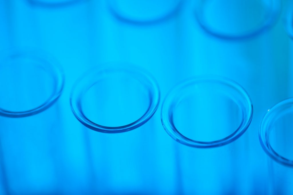 Empty Test-Tubes In Blue Light